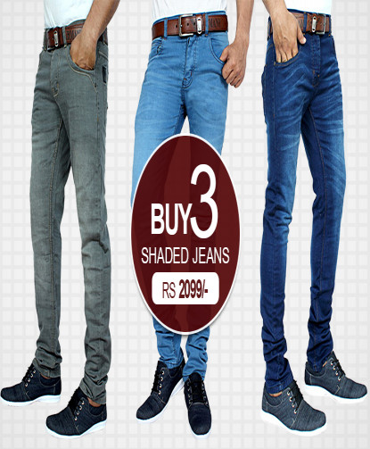 Pack Of 3 Narrow Bottom Style Shaded Jeans JS-952