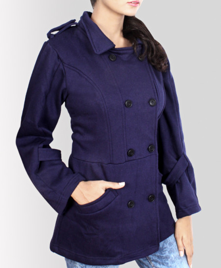 Navy Blue Peacoat Style Ladies Pullover Hoodie