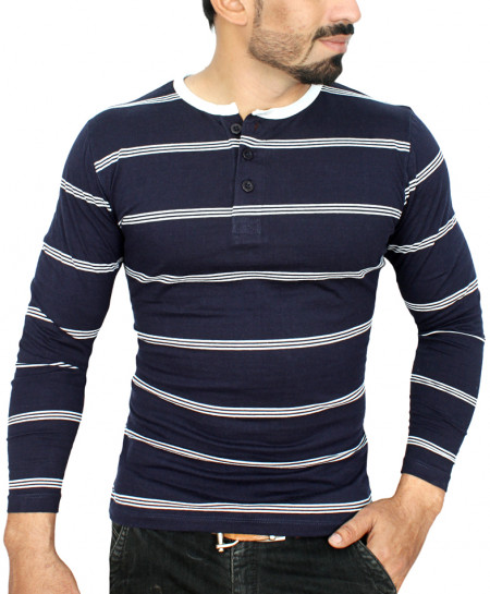 Striper Blue And White Full Sleeve T-Shirt QZS-023