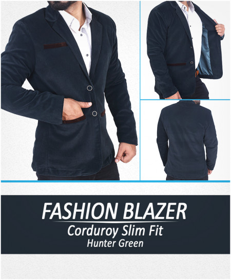 Hunter Green Corduroy Slim Fit Stylish Blazer Deal