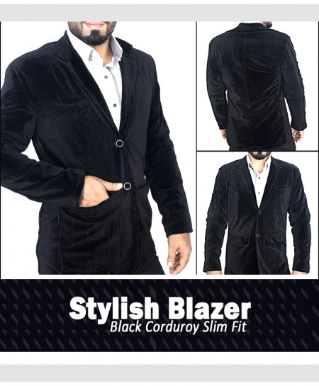 Black Corduroy Slim Fit Stylish Blazer Deal