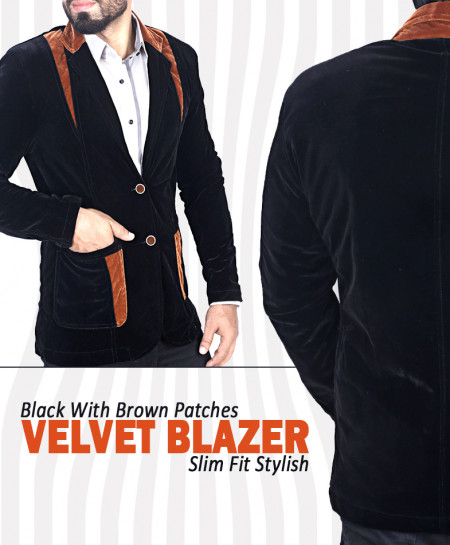 Black With Brown Patches Slim Fit Velvet Blazer Deal
