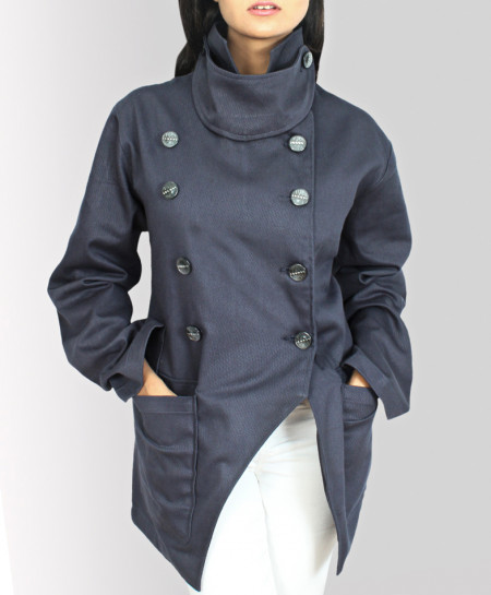 Coal Black Drill Cotton Military Style Ladies Coat