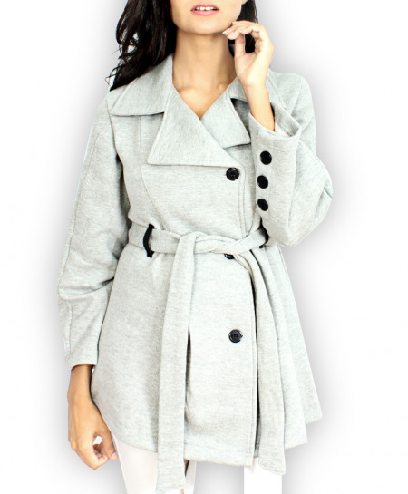 H-Grey Button Up Style Ladies Fleece Long Coat