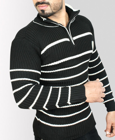 Half Zipper Style Rib Black Stylish Sweat Shirt