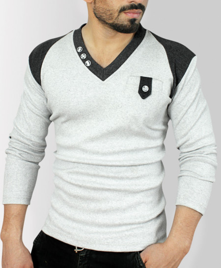 Loop Pocket Charcoal Grey Contrast Sweater