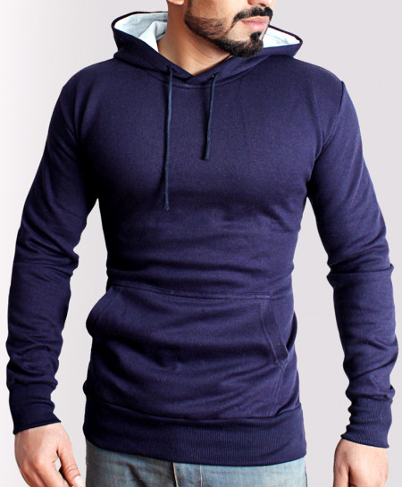 Kangaroo Pocket Style Navy Blue Fleece Hoodie