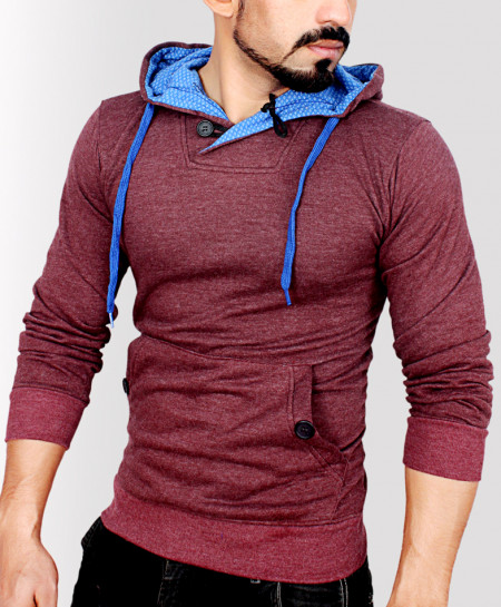 Pull Over Maroon Fleece Fashion Hoodie