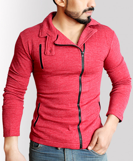 Multiple Zipper Stylish Red Fleece Mock