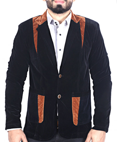 Black With Brown Patches Slim Fit Stylish Velvet Blazer