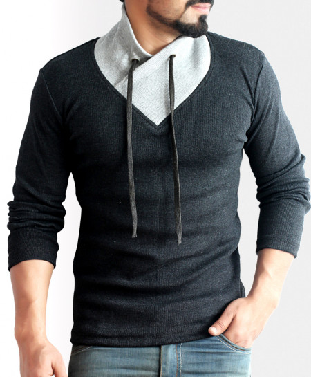 Shawl Collar Charcoal Contrast Sweater
