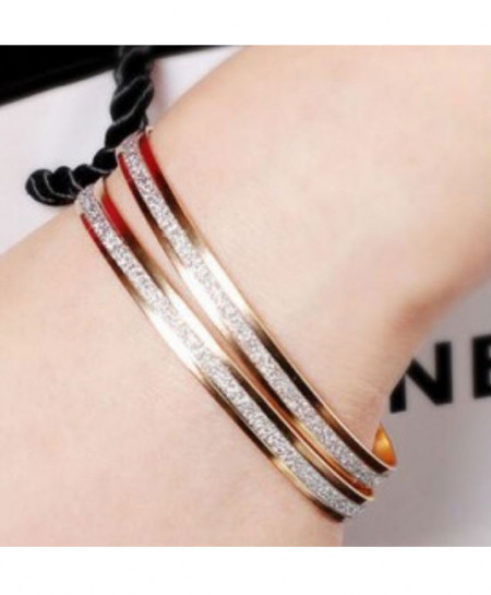 Pair of Matte Rose Gold Bracelets Bangles