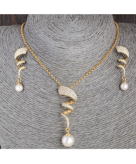 Curly Gold Plated Pearl Jewelry Set