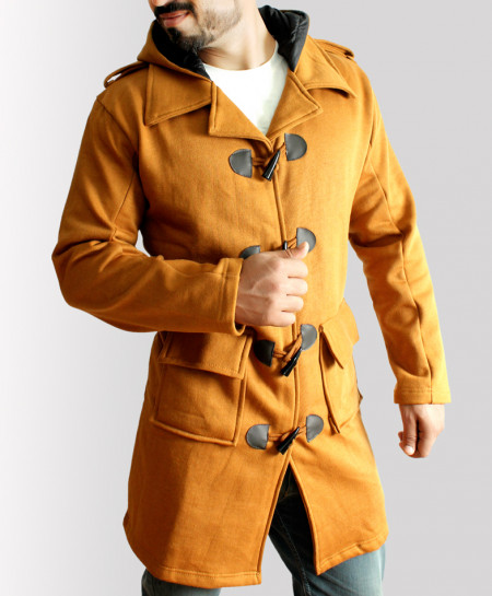 Brown Horn Button Hooded Long Coat