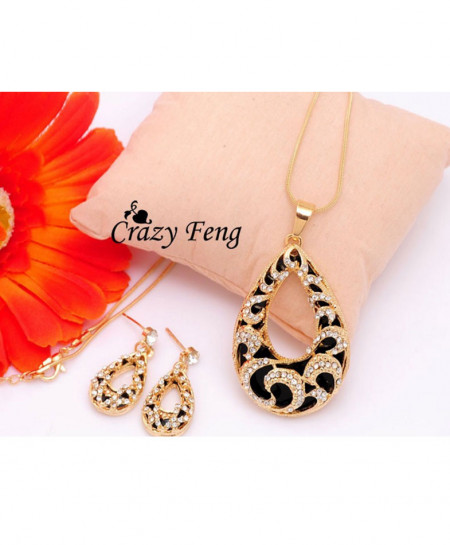 Black Stylish Gold Plated Set AM-151