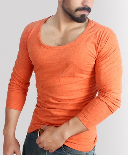 Round Deep Neck Orange Camel Modern Style T-Shirt