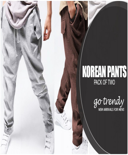 Pack Of 2 Stylish Korean Pants QZS-25864
