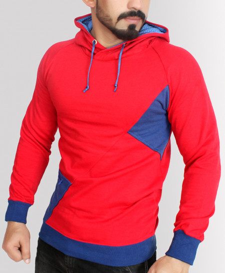 Red With Blue Contrast Pull Over Fashion Hoodie ABS-72