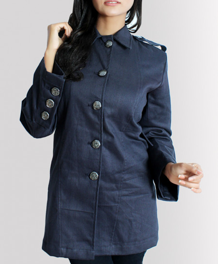 Coal Black Button Style Drill Cotton Ladies Long Coat