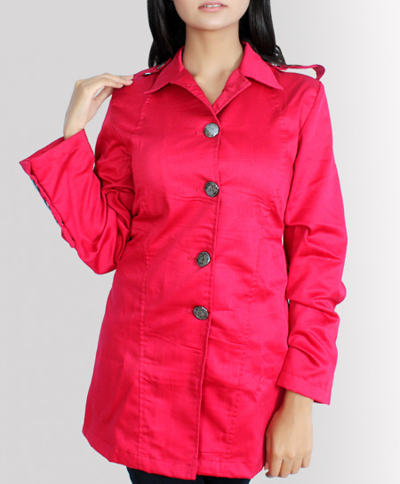 Fuschia Button Style Drill Cotton Ladies Long Coat