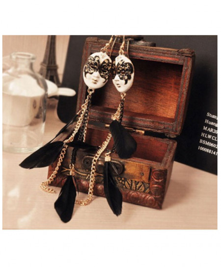 Face Mask Long Feather Earring AM-158