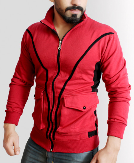 Red With Black Contrast Slim Fit Fashion Fleece Zipper Mock