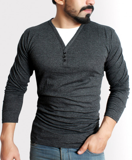 Charcoal Button Style Full Sleeve T-Shirt QZS-984