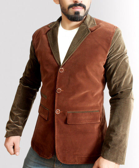 Brown With Green Modern Style Velvet Blazer
