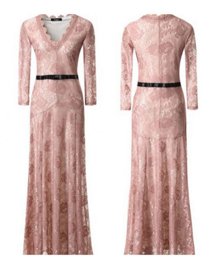 Soft Pink Stylish Net Maxi AM-164