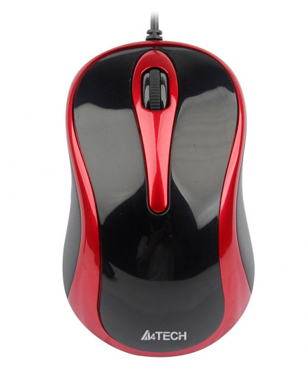 A4tech Black Plus Red V-Track Optical Mouse N350