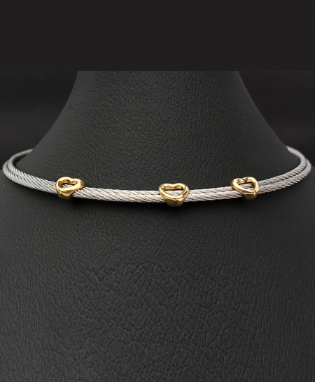 Golden Hearts with Silver Chain