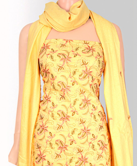 Yellow Embroided Cotton Suit