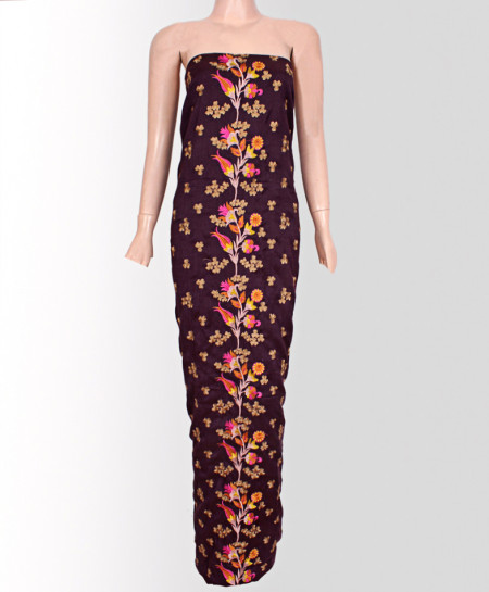 Dark Magenta Embroided Floral Style Cotton Suit