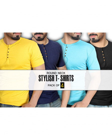 Pack of 4 Plain Round-Neck Button Style T-Shirt MT-7035