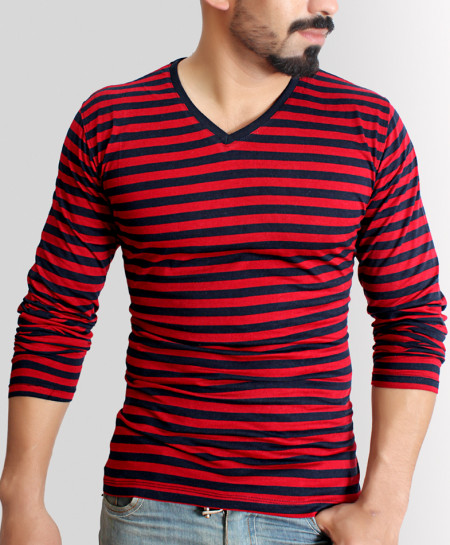 Striper Red Navy Blue V Neck Full Sleeve T-Shirt QZS-33
