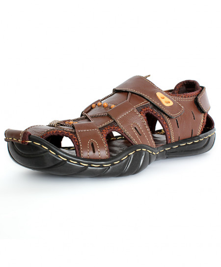 Brown Stitched Laces Style Casual Sandal CR-5294