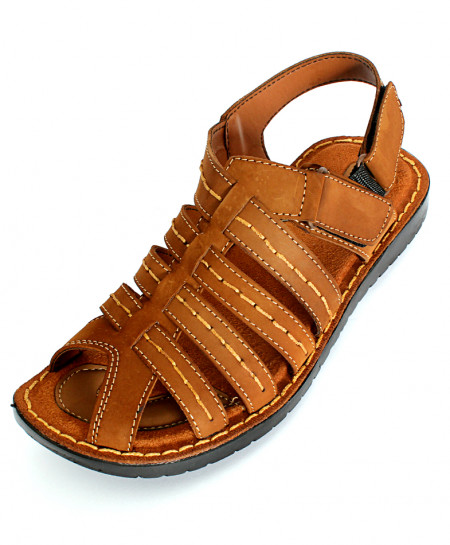 Brown Nubuck Leather Cross Strap Stylish Sandal NCP-032