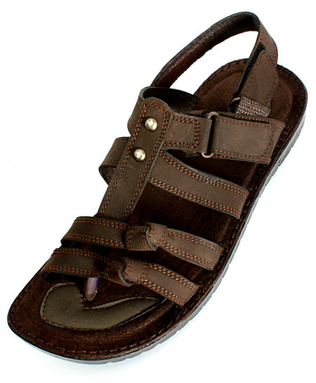Choco Brown Nubuck Leather Tracker Sandal NCP-038