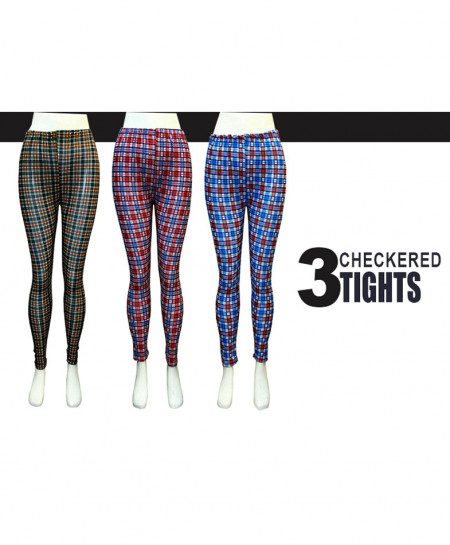 Pack of 3 Checkered Printed Style Tights