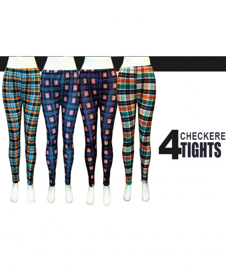 Pack of 4 Checkered Printed Tights