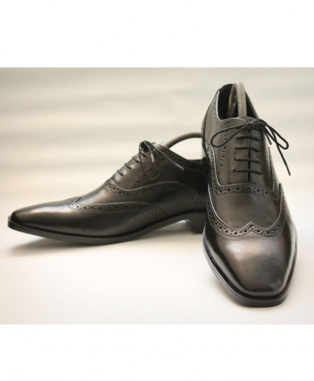 Corio Black Men Brogue Cap Toe Design Shoes CS-10109