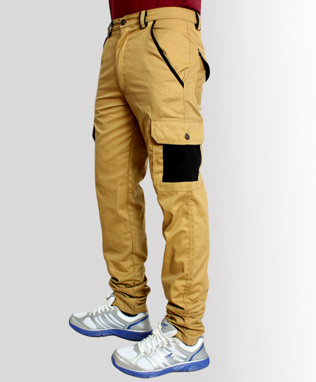 Khaki 7 Patch Pocket Narrow Cargo Trousers TK-3318