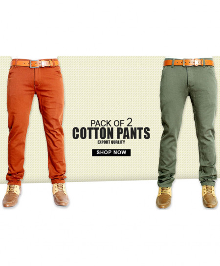 Pack Of 2 Orange Green Plain Style Cotton Pants