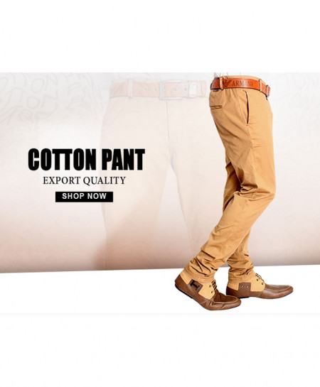 Khaki Narrow Bottom Style Cotton Pant