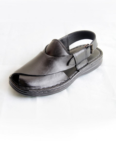 Black Plain Leather Handmade Peshawari Sandal