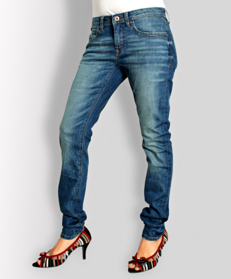 Smoke Blue Narrow Bottom Ladies Jeans AJ-6102