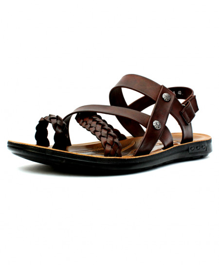 Brown Thumb Loop Stylish Ankle Strap Sandal CB-5031