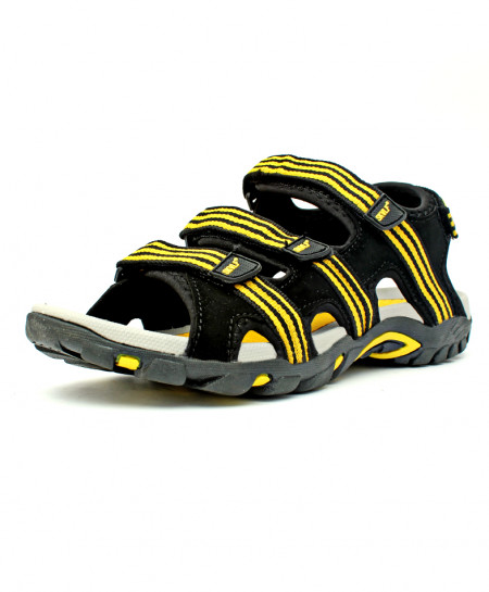 Black Yellow Four Strap Casual Sandal CB-5039