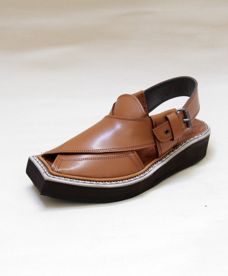 Mustard Brown Leather Kaptaan Peshawari Sandal OM-5092