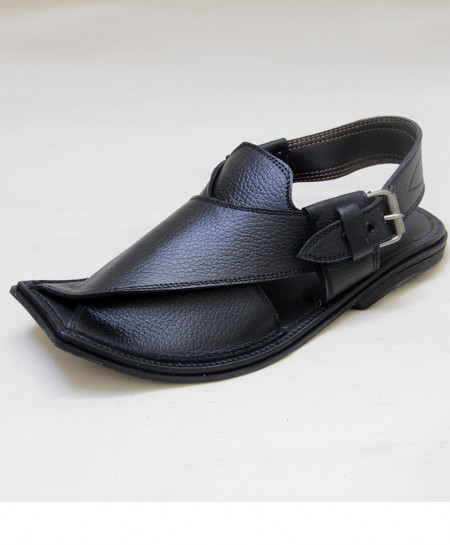 Black Leather Peshawari Sandle OM-5098